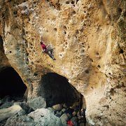 Rock Climbing Photo: Moving past the crux!