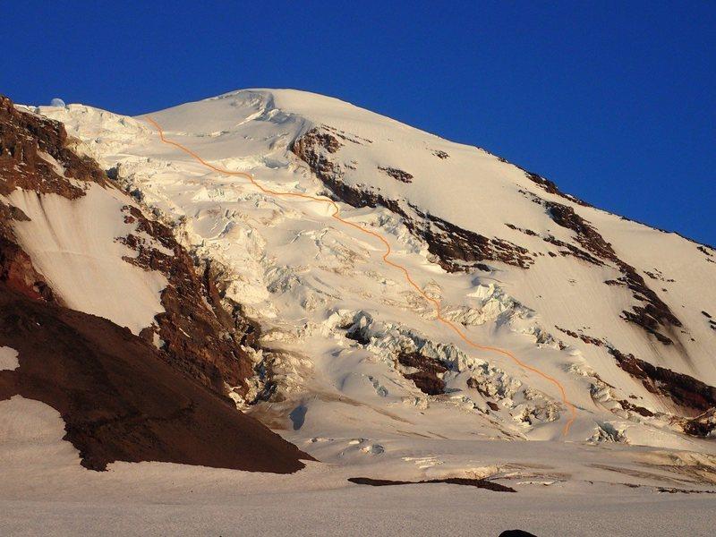 Approximate route taken, Adams Glacier, July 2016.