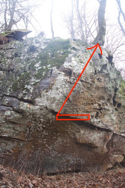 Here are the start holds, and the arrow points to the cinderblock hold.