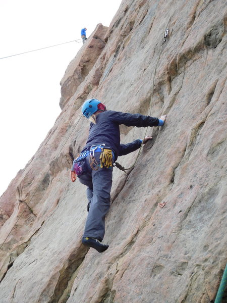Rock Climbing Photo: Working the moves on Route #5