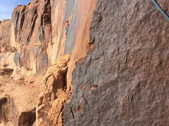 Rock Climbing Photo: Looking left of the hanging belay.  We noticed a p...