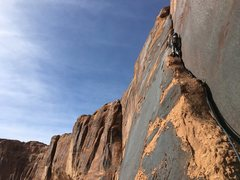 Rock Climbing Photo: Belaying from the top of the flake looking up the ...