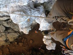 Rock Climbing Photo: Some crazy features on this climb! Almost like hor...