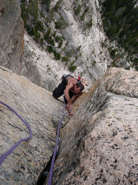 Rock Climbing Photo: Justin following the splitter hands and lay back c...