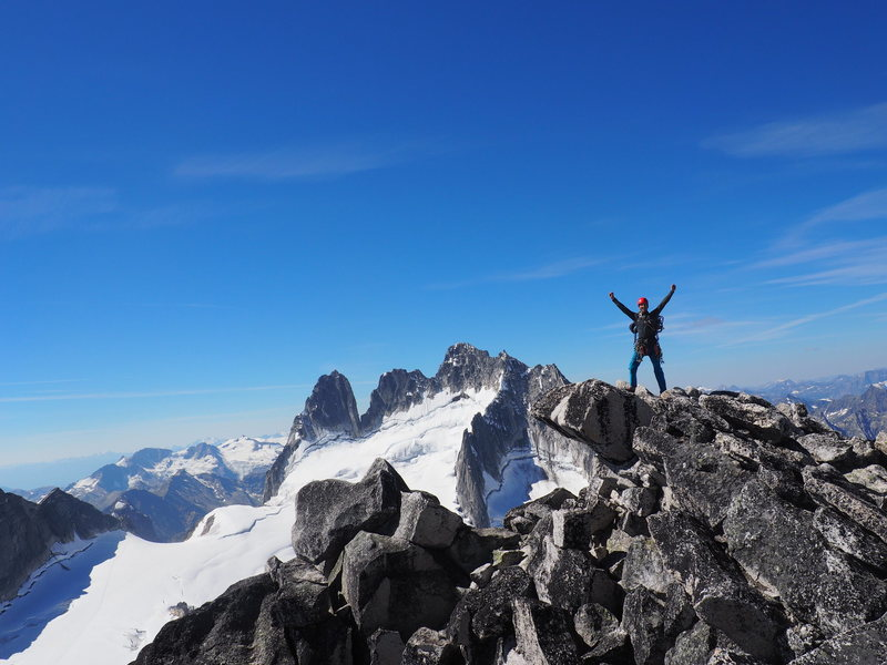 Rock Climbing Photo: At the south summit with the Howser Towers in the ...