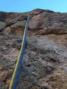 Rock Climbing Photo: The single bolt on the route.