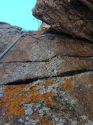 Rock Climbing Photo: The crux on the easier topout to the left of the m...