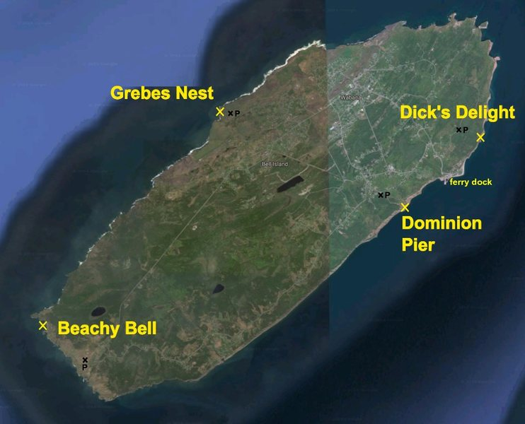 Rock Climbing Photo: Different climbing areas in Bell Island