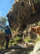 Rock Climbing Photo: Solomon on the crux start.