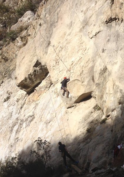 After passing the over hang keep moving left on good footholds for Sunshine Dust Bunnies.