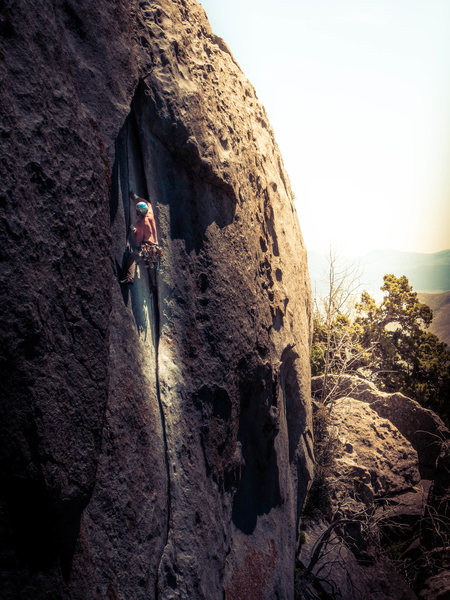 Rock Climbing Photo: Racing the sunset. Also a shirtless ascent of this...