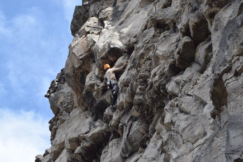 Erik tackling crux section