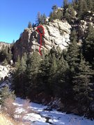 Rock Climbing Photo: The route.  Left is easier at the top than the rig...