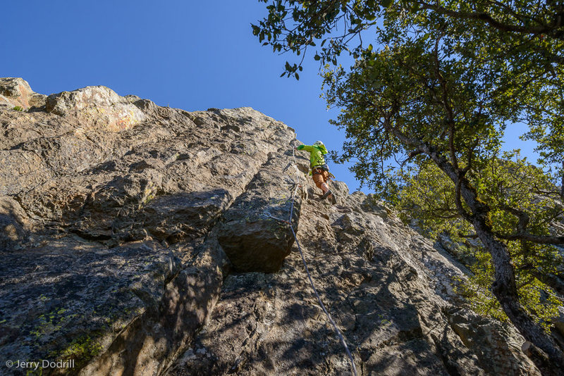 Max Kruzic climbs the steep dihedral/arete of Off Shore Drilling, .10d, Macondo Cliff, Mt. St. Helena