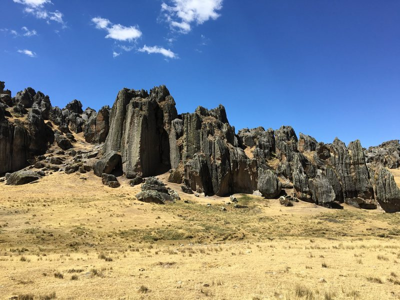 Rock walls greet you as you walk out for a days of climbing from the refugio