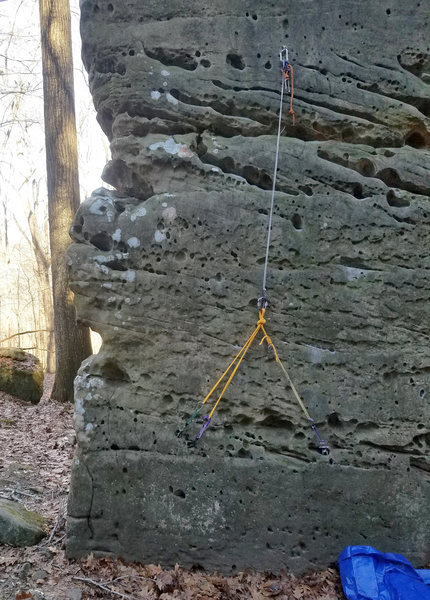Rock Climbing Photo: Ground anchor for soloing Stubborn Swede.