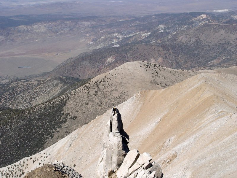 Boundary Peak, NV  Doing a little free-soloing once we made the summit..