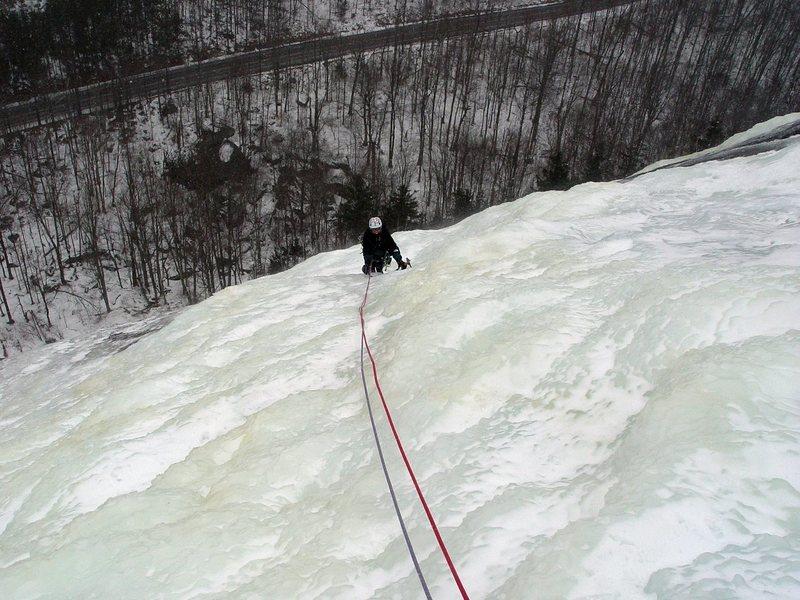 Rock Climbing Photo: My wife having fun on Chapel pond slabs..