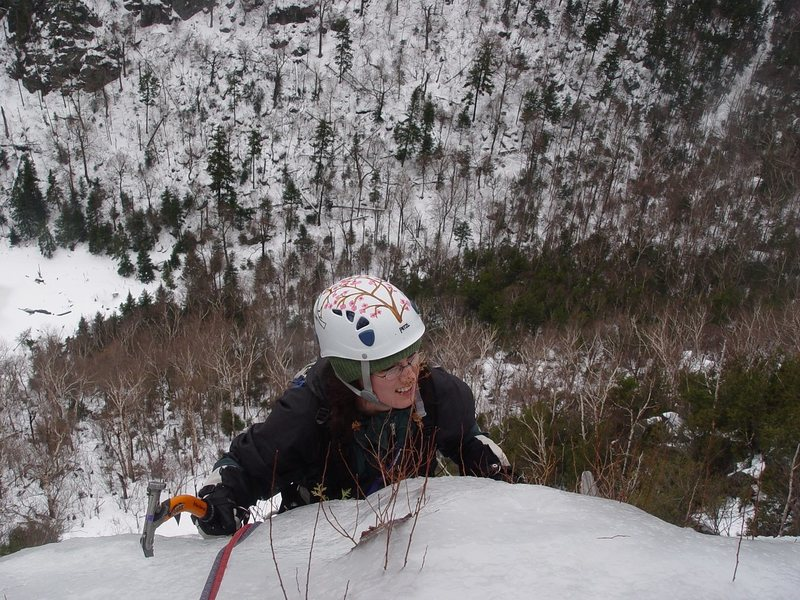 Rock Climbing Photo: My wife topping out on Weeping Winds