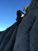 Rock Climbing Photo: Ian leading up the start of the route. Photo Drew ...