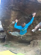 Jared LaVacque on Mini Slash Face, a great V9 stand start with a V10 sit start. <br />Photo courtesy of Hugo Almanza