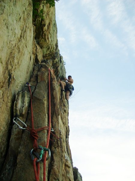 Having fun on the steep 2nd pitch of Soler