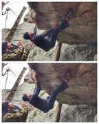 Rock Climbing Photo: Double heel hooks sinked in on this great climb.