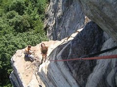 Rock Climbing Photo: Looking back to the belay just before the crux.. S...