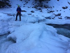 Rock Climbing Photo: Crossing on fat ice underneath the cable. Jan 15 2...