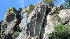 Rock Climbing Photo: Routes from left to right 1. Sweet Dreams 5.10a 2....