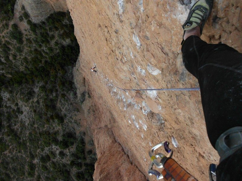 Rock Climbing Photo: Hubby and me, Fiesta de los Bicepes 11d -Riglos, S...
