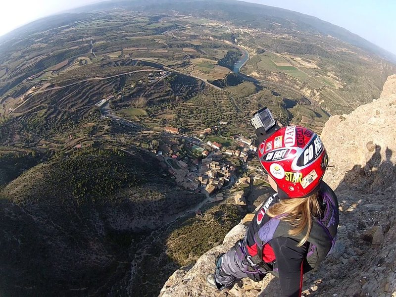 BASE jumping in Riglos, Spain.