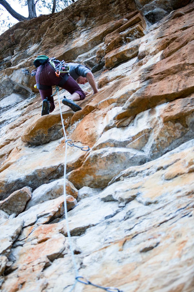 Rock Climbing Photo: Finding relief above the bolt. After the simple bu...
