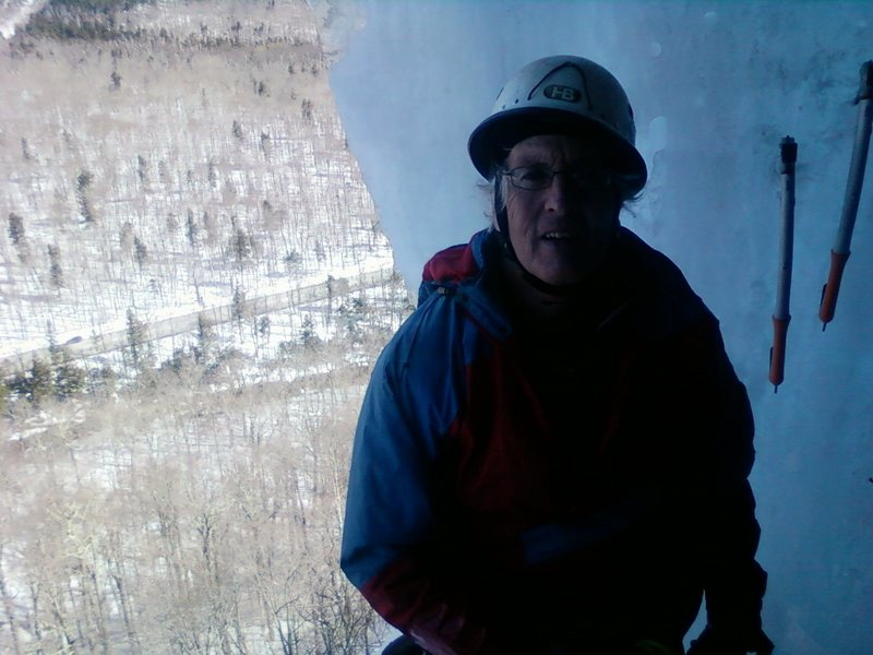 My good friend at the 1st belay in the cave on the standard route