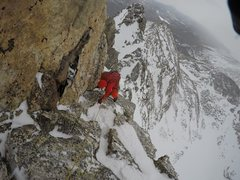 Rock Climbing Photo: Wade Morris near the top of the 3rd Ace, 2017 Wint...
