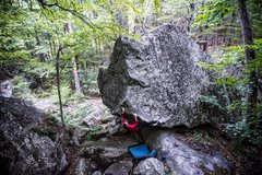 Rock Climbing Photo: Tim Kemple on his route Numb Thumb many years afte...