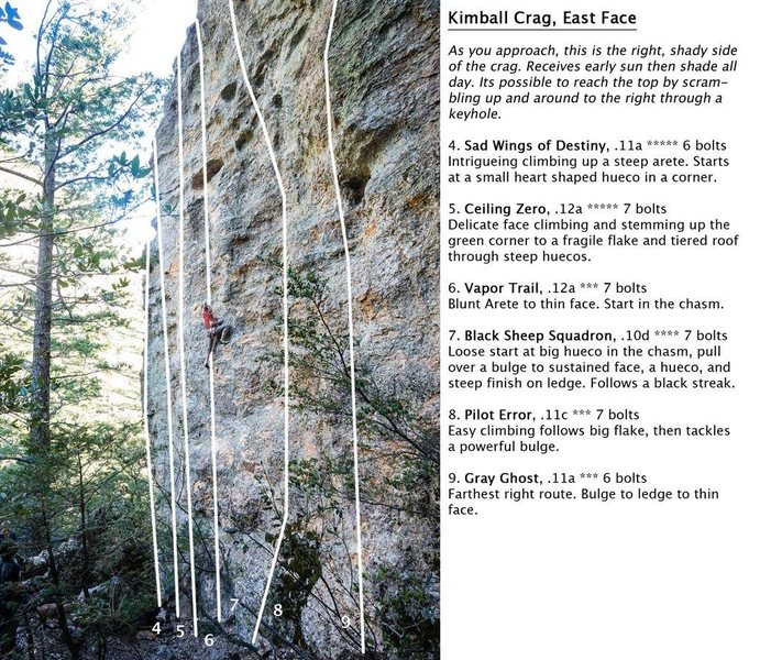 Kimball Canyon North Face Routes. The climber in the photo is leading on &quot@SEMICOLON@Black Sheep Squadron&quot@SEMICOLON@.