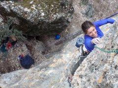 Rock Climbing Photo: Ronna in the crux of Pilot Error
