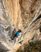 Rock Climbing Photo: Mike Holmes past the crux on Pitch 4 (12c)