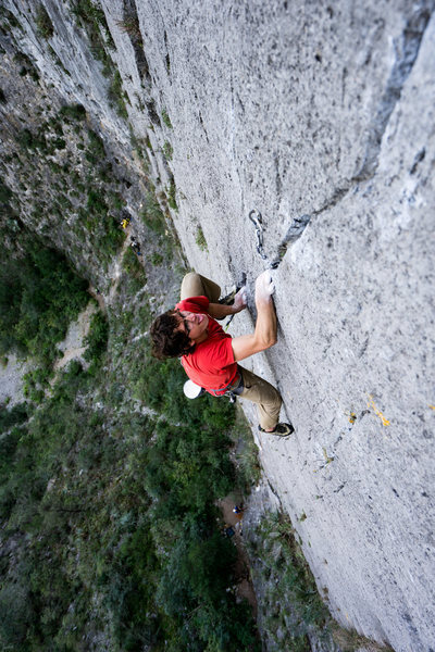 Incredible think crack moves near the top of Pitch 1 (12b), photo by Callen Hearne