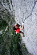 Rock Climbing Photo: Incredible think crack moves near the top of Pitch...