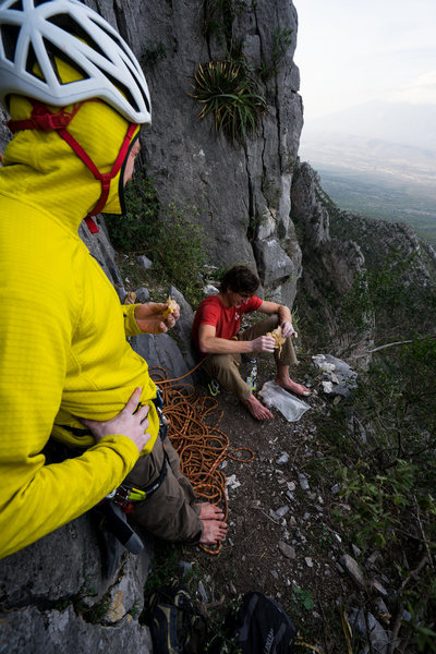 The sweet bivy ledge below Pitch 6, great place for a snack! Photo by Callen Hearne