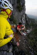 Rock Climbing Photo: The sweet bivy ledge below Pitch 6, great place fo...