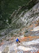 Rock Climbing Photo: Mike Holmes below the crux on Pitch 7 (11d)