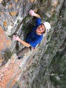Rock Climbing Photo: Mike Holmes enjoying some grassy jugs near the top...