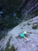 Rock Climbing Photo: Mike Holmes near the top of Pitch 3 (12b)