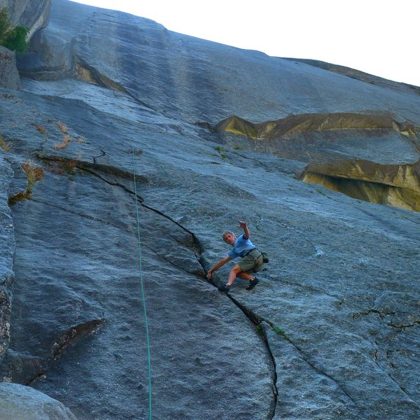 Rock Climbing Photo: Michel Fourcroy on, Layin' On The Hands. 5.8+