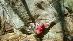 Rock Climbing Photo: Chris going big on Worms Way.