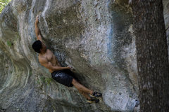 Rock Climbing Photo: Reaching through the crux on Fire in the Belly.