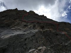 "Our route to avoid the fallen section.  We went for the large, credit card looking slot on the far right (covered by the red line) which was a fun squeeze chimney then hooked back left traversing over the gash and back onto the ""route""."
